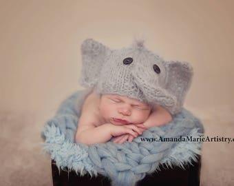 Baby elephant hat, mohair baby elephant beanie, newborn hat, baby animal hat, baby boy hat, childrens elephant hat, UK seller