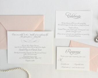 INVITATION SAMPLE. Fairy Tale Wedding Invitation Set. Blush and Silver Invitation. Romantic Invitation Set. Fairy Tale Wedding.