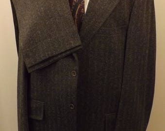 60s Clipper Craft Mens Gray Herringbone Wool Suit  Size 42R