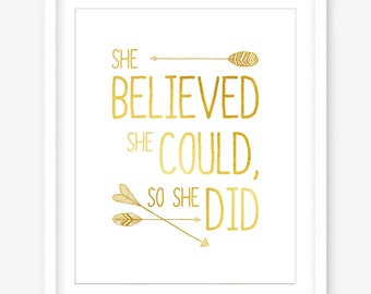 She believed she could - printable nursery art - printable faux gold wall art - nursery wall art - gold printable quote - INSTANT DOWNLOAD