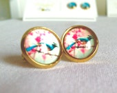 Cherry Blossom with Blue Bird Stud Earring