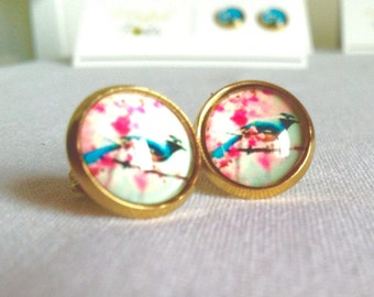 Cherry Blossom with Blue Bird Retro Stud Earring