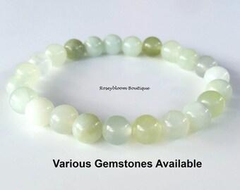 8mm Genuine Serpentine New Jade Bracelet-New Jade Bracelet-Serpentine Bracelet-Light Green Bracelet-Natural Serpentine New Jade