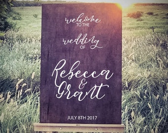 Welcome Wedding Sign - Wood Welcome Sign, Welcome Guest Sign - Wedding Signs Wooden Sign / Rustic Wedding Sign, Wedding Ceremony Sign Decor