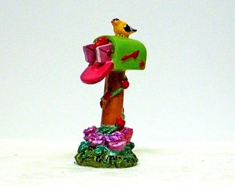FAIRY MAILBOX, Miniature Resin Mailbox, Miniature Garden Accessory, PERSONALIZE, Fairy Accessory, Sparkly Red Roses, Fairy Garden Kit