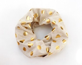Gold Foiled Oatmeal Toddler Infinity Scarf, Polka Dot Baby Scarf, Childrens Scarves with Hearts, Beige Kids Scarf, Toddler Scarf, Childs