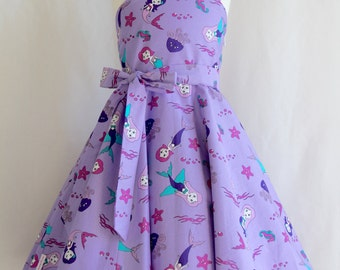 Mermaid Dress, Girl's Party Dress, Birthday Dress, Little Mermaid Dress, Girl's Purple Dress, Girl's Swing Dress, Retro Dress