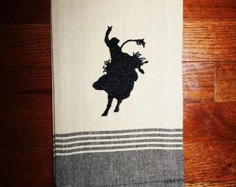 bull rider decor ~ bull rider kitchen towel ~ bull rider gift ~ bull