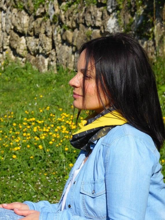 Yellow and black Snood woman snood tubular scarf, Veil printed small darts. Yellow mimosa. Neck tube, Choker, infinity scarf