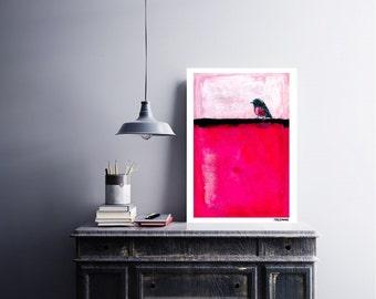 Pink Robin Abstract Modern Contemporary Fine art Giclee print