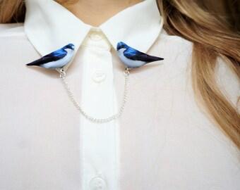 Cardigan clip, blue bird brooch , collar clips , collar pins , bird brooch , bird pin