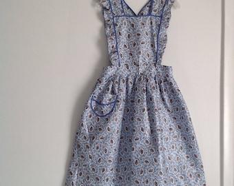 50s-60s Vintage Full Apron, Pinafore Bib Apron, Handmade Vintage, Blue Size S/M, Ruffles