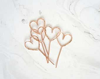 Rose gold hearts wedding cupcake toppers, Cupcakes toppers, Heart topper, Rustic chic wedding, Woodland, Cake Topper, Wedding details, Heart