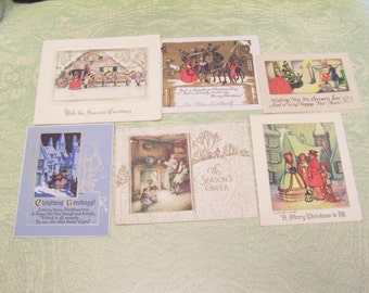 Lot of six vintage antique used Art Deco Merry Christmas Happy New Year greeting cards carolers horse and carriage fireplace