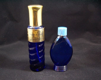 Two vintage cobalt blue Bourjois Evening in Paris perfume cologne fragrance scent spray bottle