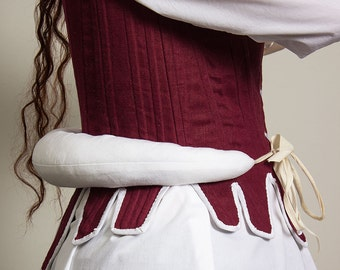 18th century bumroll in cotton, multiple sizes available - Reenactment colonial historical costume georgian rococo undergarments accessories