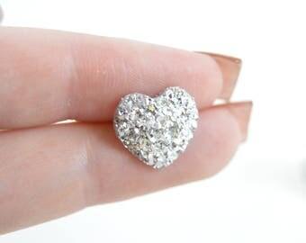 1/2 7/16 00g 0g 2g 4g 6g 8g 10g 12g 1 PAIR SUPER Sparkly Druzy Heart Plugs Gauges Tunnels Stud Earrings Wedding Bridal Bridesmaid