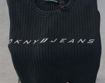 DKNY Jeans Ribbed Sweater in Black Vintage 90s
