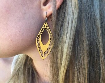 Kangaroo Leather Earrings - Big Bold Design