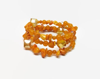 Orange Beaded Memory Wire Bracelet, Orange Boho Memory Wire Bracelet, Orange Boho Wrap Bracelet, Orange Beaded Wrap Bracelet