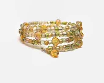 Orange and Green Beaded Memory Wire Bracelet, Orange Memory Wire Bracelet, Orange and Green Wrap Bracelet, Orange Beaded Wrap Bracelet