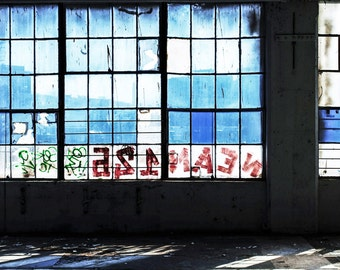 Blue Windows And Graffiti, Abandoned, Art Print, Graffiti Art, Blue Photo, Modern Home Art, Living Room Wall Art, Sunlight, Shadows, Decay