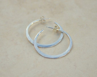 Size 2 Silver Knife Edge Forged Hoops, Argentium Silver Hoops, Silver Hoop Earrings, Handforged Silver, Everyday Earrings