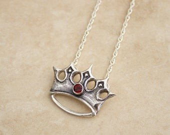 Silver Crown Necklace, Crown Jewelry, Crown Necklace, Garnet Necklace, Topaz Necklace, Heraldry Necklace, Renaissance Jewelry