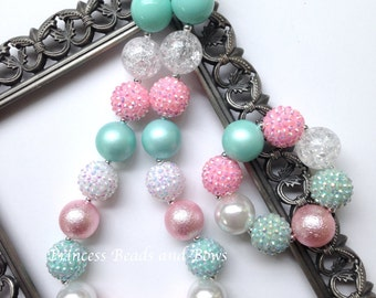 Pink, White and Mint Chunky Necklace and Bracelet, Mint & Pink Necklace,  Bubble Gum Necklace, Chunky Necklace, Photo Prop