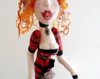 Rag dolls Art Fabric doll, Cloth doll,Art Doll, Scottish Doll,Fabric Doll, Boudoir Doll, Textile Art, Collectors art rag doll