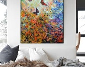 ON SALE large modern painting  butterflies abstract original art wall paintings art colorful artwork home decor art free shipping anywhere