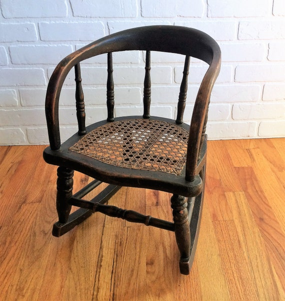 Antique Hand Caned Childs Rocking Chair/Childs Bentwood Rocker SALE