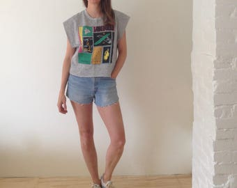 SURFIN SAFARI vintage 80's crop top slouchy slacker top sleeveless stoner t shirt boxy relaxed fit loose cotton tank top muscle shirt