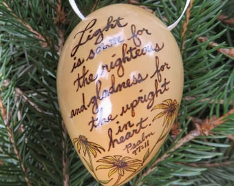 Psalm 97:11 and Black-Eyed Susan Bible Verse Woodburned Gourd Ornament