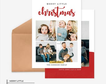 Christmas Card Template for photographers PSD Flat card - Christmas Card - Photoshop Template - CD054