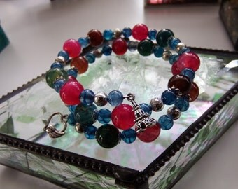 Agate bracelet. Colourful Dragons Vein agate with engraved silver beads and two silver charms. Wrap bracelet. Multicoloured gemstones.Unique