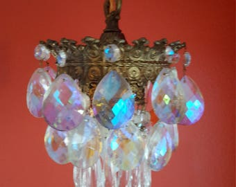Hollywood Regency Crystal Icicle Aurora Borealis Hanging Swag Light