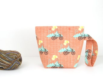 Bicycle knitting bag with snaps, sock project bag with balloons