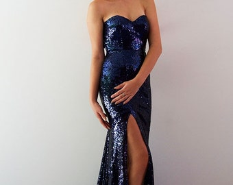 Cyanna Gown with Split in Navy