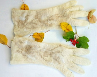 Winter wedding Women gloves Felted gloves with fingers Arm warmers Bridal wedding Ivory gloves Christmas gift Fall accessories  Felt mittens