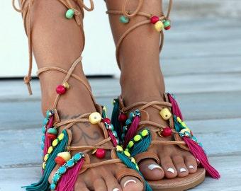 Naya, Handmade greek genuine leather sandals, Gladiator leather sandals, colorful sandals