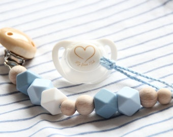 Blue silicone pacifier clip / Dummy chain / Stylish teething pacifier holder / Beads are safe for teething