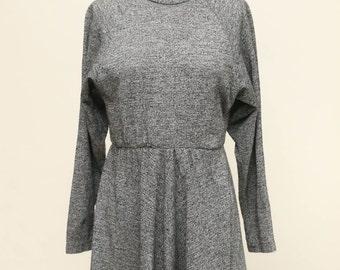 textured marl high neck skater dress vintage 1980s