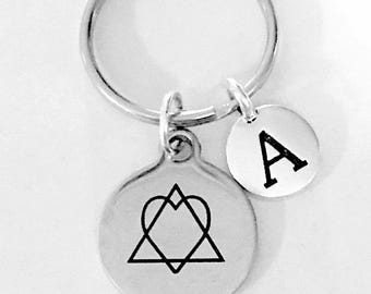 Adoption Gift, Adoption Symbol Keychain,  Initial Keychain, Adopt Mother Birth Mother Foster Child Gift Keychain