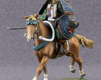 Medieval Action Figurine 1/32 Scale Japanese Samurai Horse Rider Toy Soldiers 54mm Tin Metal Miniature Hand Painted