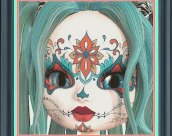 Sugar Skull Cutie, Dead of the Dead, Turquoise Orange All Souls Day Skull, Day of the Dead Celebration Counted Cross Stitch Pattern