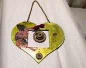 Beautiful hanging heart - mixed media heart - Floras Adoras - home decor - wall decor -wedding gift - reclaimed  metal heart -  everyday art