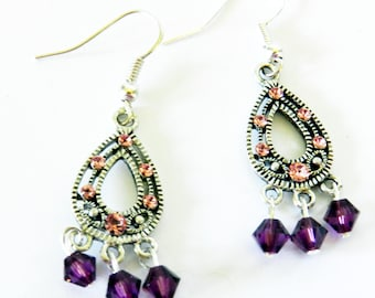 Dangling Earrings, Purple Chandelier Earrings, Swarovski Purple Crystal Jewelry, Swarovski Earrings, Swarovski Jewelry, Purple Earrings