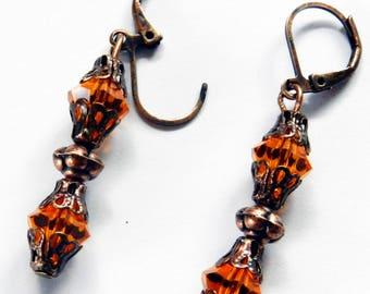 Orange Crystal Swarovski Dangling Earrings, Swarovski Earrings, Dangling Earrings, Pierced Earrings, Drop Earrings, Orange Crystal Earrings