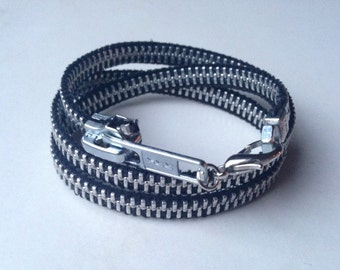 Zipper wrap bracelet hex nut black
